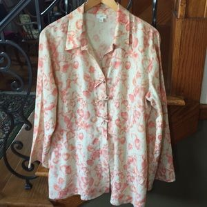 J. Jill Linen Coral/Pink Pattern Top or Jacket